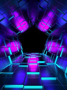 Preview wallpaper ubes, rendering, tunnel, purple
