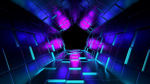 ... Preview wallpaper ubes, rendering, tunnel, purple