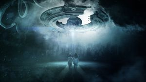 Preview wallpaper ufo, children, space ship, photoshop, futuristic