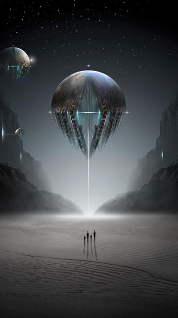 360x640 Wallpaper ufo, silhouettes, planet, space, fantastic, sci-fi