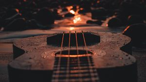 Preview wallpaper ukulele, guitar, sunset, beach, dusk