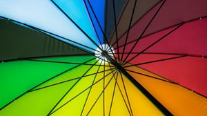 Preview wallpaper umbrella, colorful, bright, design, mechanism