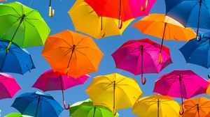 Preview wallpaper umbrella, colorful, positive, sky, rainbow, bright