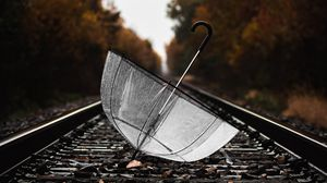 Preview wallpaper umbrella, rails, wet, railway