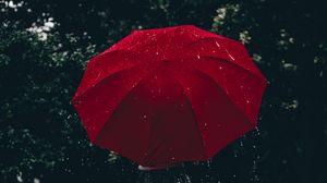 Preview wallpaper umbrella, red, girl, rain