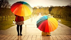 Preview wallpaper umbrellas, colorful, kids, rainbow, weather, mood