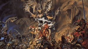 Preview wallpaper undead, demon, skeletons, soldiers, battle, horses