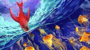Preview Wallpaper Underwater World Jellyfish Art Fish Ocean Waves