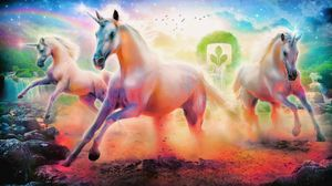 Preview wallpaper unicorns, horse, rainbow, emblem, tree, rocks