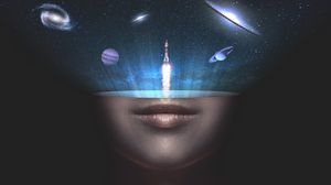 Preview wallpaper universe, space, face, rocket