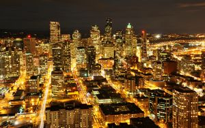 Preview wallpaper usa, washington, seattle, night city, skyscrapers, buildings, lights