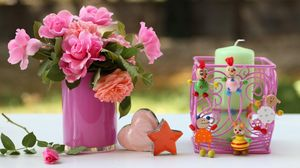 Preview wallpaper vase, flowers, candles, candle holders, toys