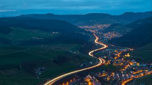 Preview wallpaper village, road, aerial view, night, mountains, switzerland