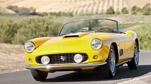Preview wallpaper vintage, ferrari, convertible, yellow