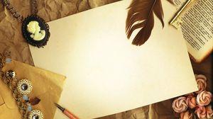 Preview wallpaper vintage, paper, cameo, key, pen, book