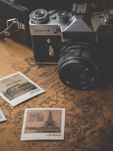 Preview wallpaper vintage, retro, camera, map, photos, travel
