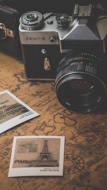 360x640 Wallpaper vintage, retro, camera, map, photos, travel