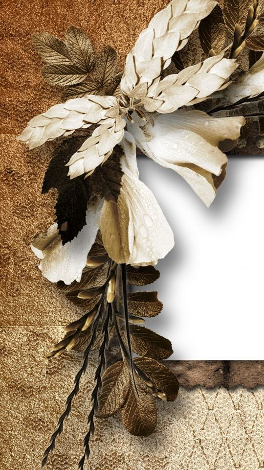 540x960 Wallpaper vintage, retro, dried flower, petals, paper