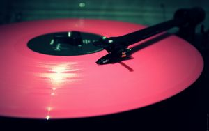 Preview wallpaper vinyl, record, pink, needle, player