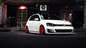 Preview wallpaper volkswagen golf, gti, white, front view