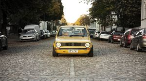 Preview wallpaper volkswagen, golf, mk1, yellow, front view