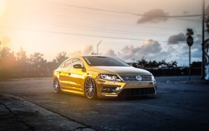 Preview wallpaper volkswagen, passat, cc, golden, mist