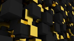 Preview wallpaper volume, figure, square, black, yellow