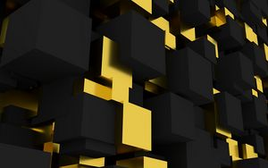 Preview wallpaper volume, figure, square, black, yellow