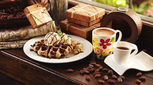 Preview wallpaper waffles, coffee, dessert, ice cream, banana
