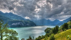 Preview wallpaper walensee lake, alps, switzerland, top view, hdr