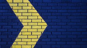 Preview wallpaper wall, brick, arrow, blue, yellow, pointer, direction