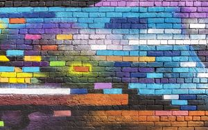 Preview wallpaper wall, brick, colorful, paint, street art, graffiti