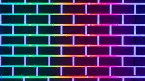 Preview wallpaper wall, brick, neon, glow, multicolored