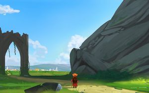 Preview wallpaper wanderer, traveler, road, rocks, art