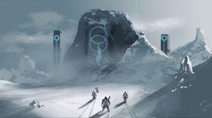 Preview wallpaper wanderers, rock, fantasy, snow, art