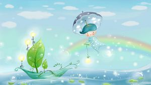 Preview wallpaper water, rain, umbrella, leaves, boat, boy, sea, sky, sail, weather, nature, bubbles, rainbow, pattern, light, clouds, lights
