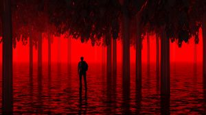 Preview wallpaper water, trees, man, red, neon, light, flooded