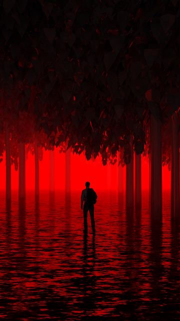 360x640 Wallpaper water, trees, man, red, neon, light, flooded