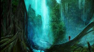 Preview wallpaper waterfall, forest, trees, silhouette, art