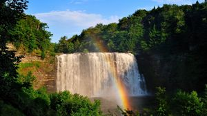 Preview wallpaper waterfall, rainbow, trees