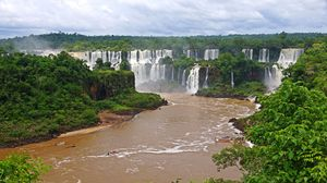 Preview wallpaper waterfalls, brazil, river, landscape, iguazu, nature