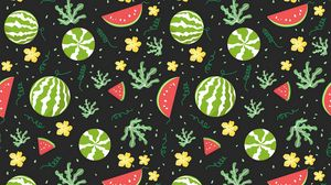 Preview wallpaper watermelons, berries, patterns, pattern