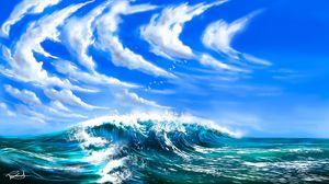 Preview wallpaper waves, sea, clouds, birds, art