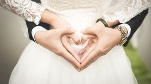 Preview wallpaper wedding, hands, heart, love, romance