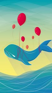 Preview wallpaper whale, air balloons, art, vector, flight