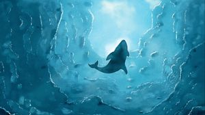 Preview wallpaper whale, art, wave, blue