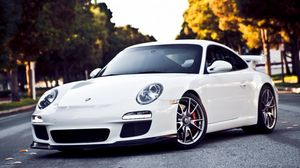 Preview wallpaper white, porsche, road