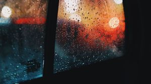 Preview wallpaper window, rain, drops, car, glass, glare