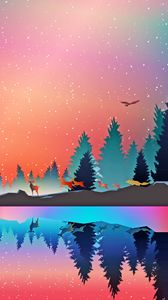 Preview wallpaper winter, animals, art, vector, forest, reflection