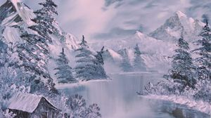 Preview wallpaper winter, art, painting, river, fir-trees, lodge, white